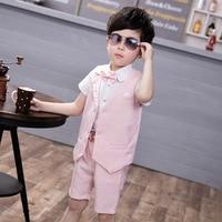Baby Boy Suits Formal For Wedding 2018 Vest Shirt Short 3 Pcs Boys Suit Jackets Cotton