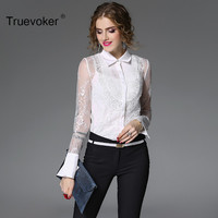 Truevoker Spring Designer Blouse Women S High Quality White Flare Sleeve Peter Pan Collar Full Lace