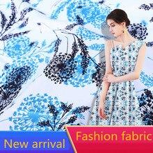 2019 New Arrival Wholesale (1 meter/lot) Summer Soft Silk Chiffon Fabric Printed Blue Flower for Making Women Dress Width 160cm