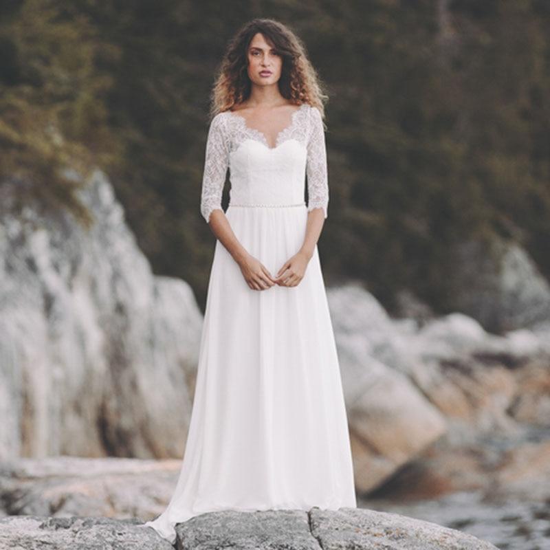 LORIE Beach Wedding Dress V Neck Lace Half Sleeve Chiffon Boho Zipper Bride Dress Custom Made Wedding Gown Vestidos De Noiva