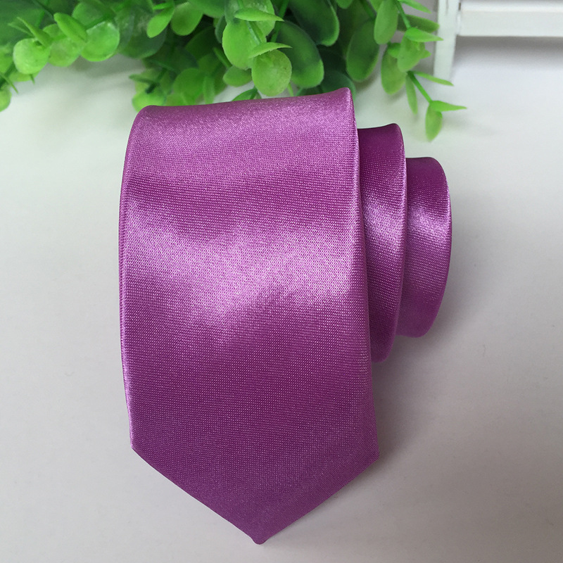Ties Solid PURPLE Color Necktie Stage Performance  Bright Version 5cm Narrow Tie