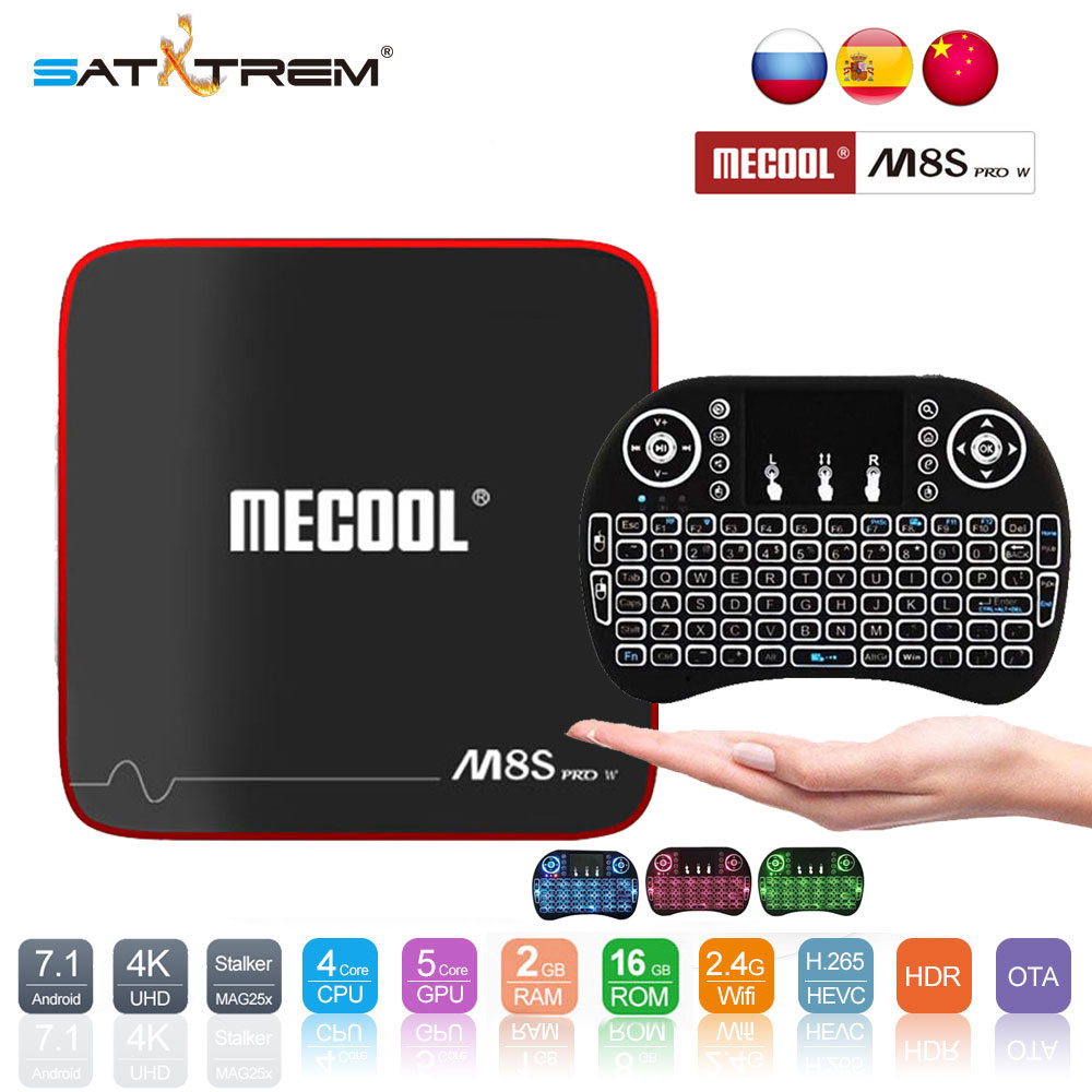 SATXTREM MECOOL M8S W PRO Android 7,1 TV caja Amlogic S905W Quad Core 2 GB RAM DDR3 16 GB inteligente TV Box WiFi 4 K H.265 Set Top Box