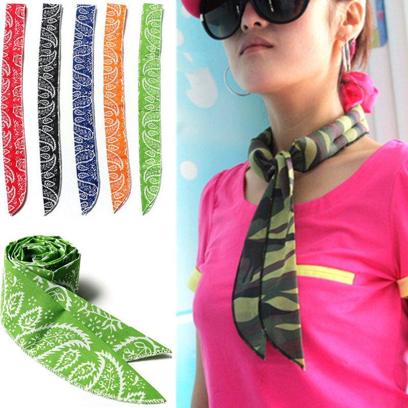 Summer Multi Function Ice Collar   Scarf   Women Men Neckerchief Print Flower Cotton Body Cooler Cooling   Scarf     Wraps   Necktie Heaband