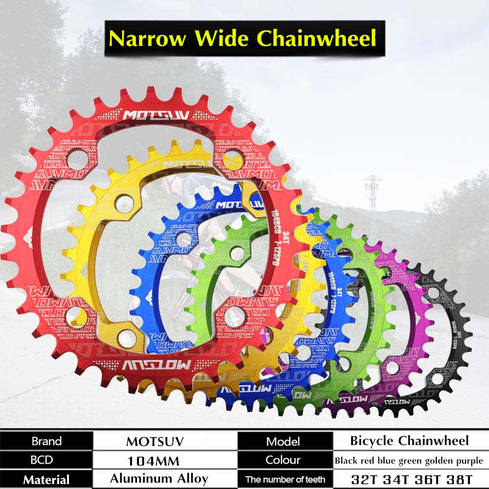 104BCD รอบแคบกว้างห่วงโซ่ MTB จักรยานเสือภูเขาจักรยาน 32T 34T 36T 38T crankset ฟันเดี่ยวชิ้นส่วนแผ่น 104BCD Chainwheel