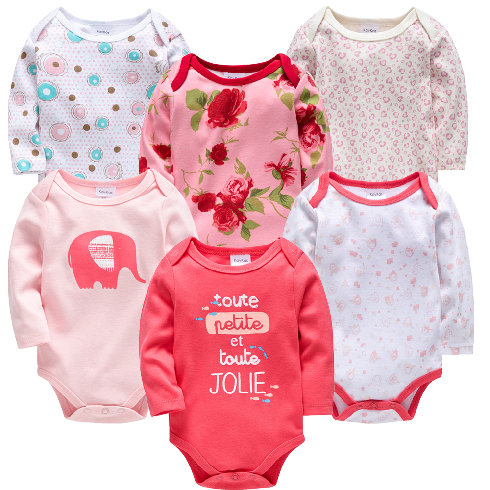 2019 Baby Girls Clothes 6 Pcs/lot Flower Printed Cotton Long Sleeve Girl Bodysuit 0-24 Months Newborn Boys Clothing Toddler