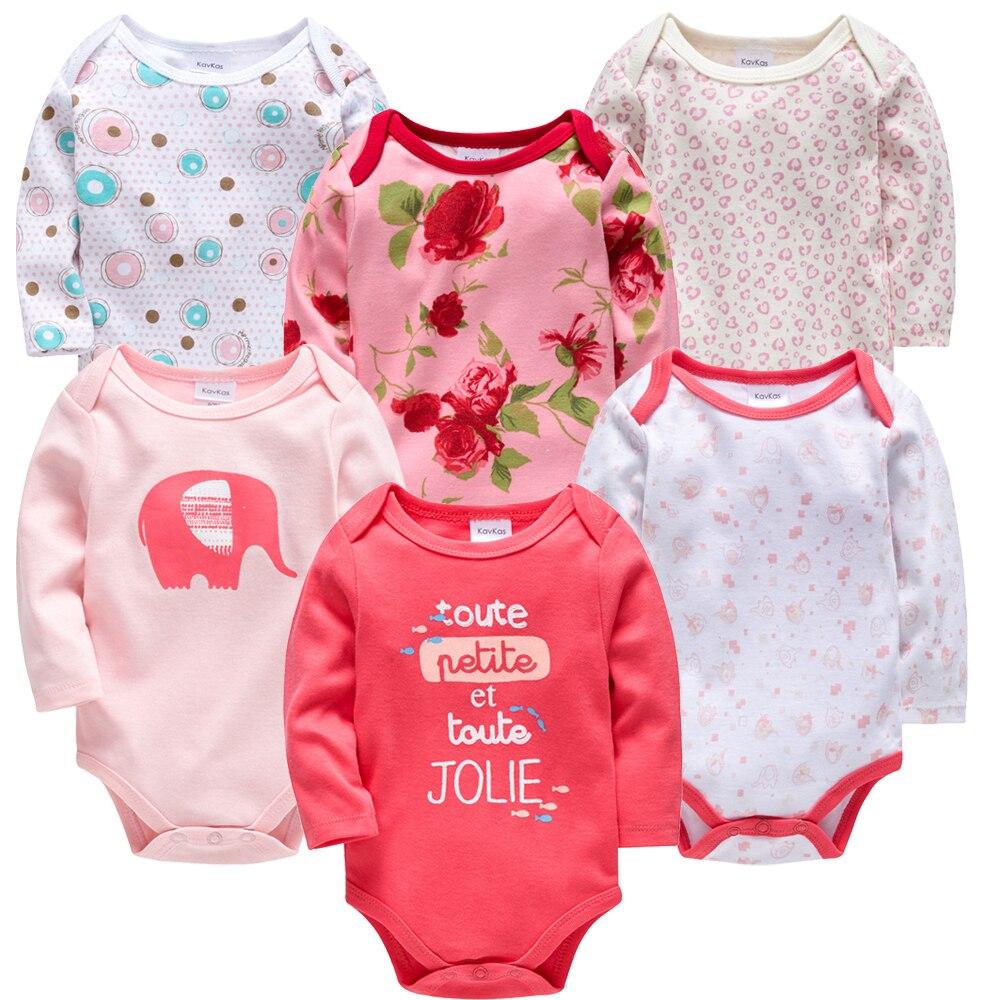 2020 Baby Girls Clothes 6 Pcs/lot Flower Printed Cotton Long Sleeve Girl Bodysuit 0-24 Months Newborn Boys Clothing Toddler