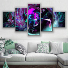 Wall Art Canvas Painting Modular 5 Panel League of Legends LOL KDA Akali Splash Picture Prints Home Decor Poster For Living Room