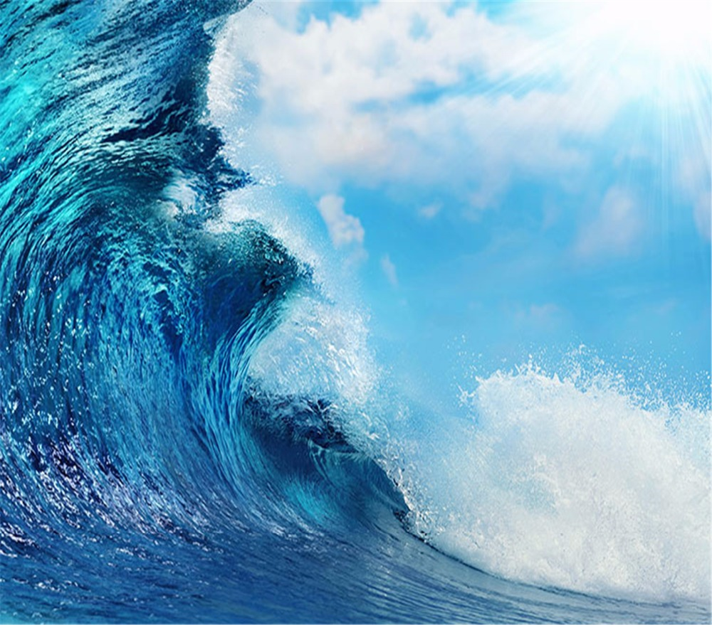 Waves Wallpapers: 3d Wallpaper Sea Wave Sky High Tide Beautiful Scenery 3d