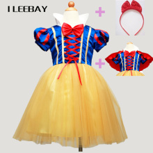 Hot Sale Halloween Snow White Princess Tutu Dress+Red Cape+Hairpin Bow Kids Girls Dress Party Cosplay Ball Gown Children Clothes