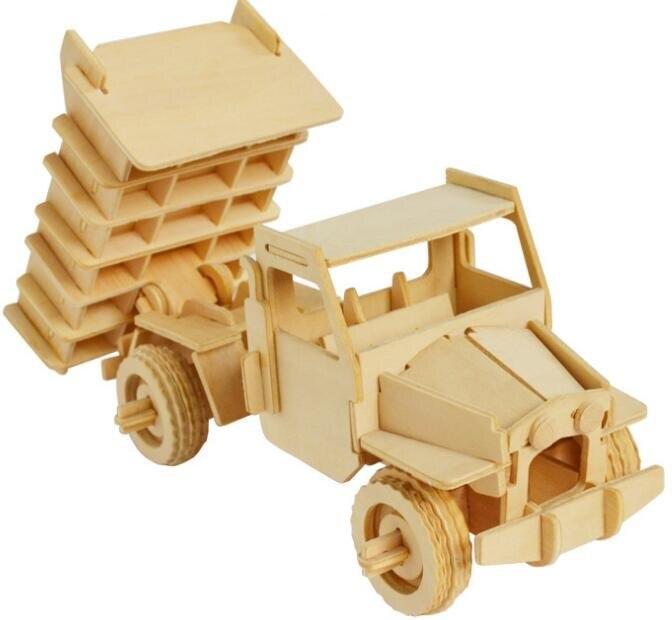 Моделирование игрушечный самосвал Модель 3d трехмерные деревянные головоломки игрушки для детей Diy ручной работы деревянные пазлы