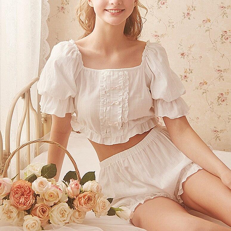 Women's Stringy Selvedge Tops+Pumpkin Shorts Two-pieces Princess Pajama Sets.Lolita Nightgown Pajamas Suit.Sleepwear Loungewear