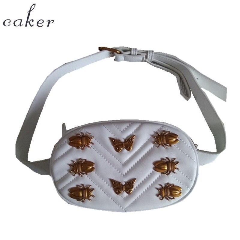 Caker Для женщин пайеток Пчелка бабочка Фанни талии мешок с поясом заклепки вышивка V ромбовидная решетка в форме сердца круг сумка