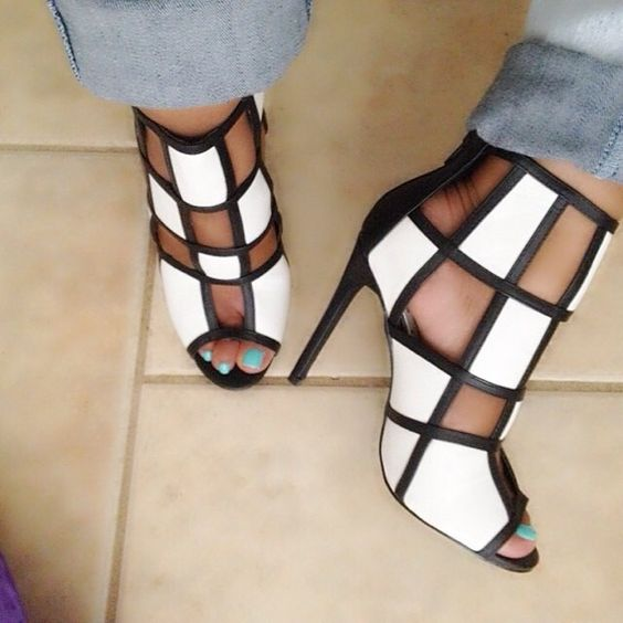 New Arrival Summer Patchwork Cut-outs Stiletto Heel Sandal Boots Peep Toe Cage Gladiator Dress Sandals Party Custom Shoes