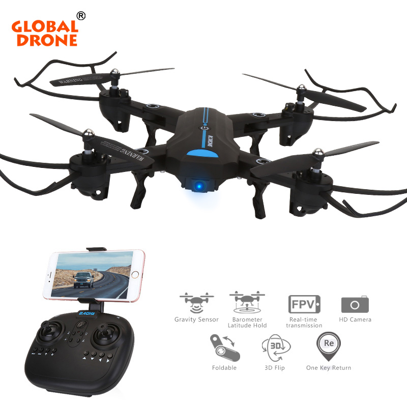 Global Drone A6W FPV WiFi Folding Quadcopter with 120 FOV Wide Angle Camera HD High Hold RC Helicopter Drones D VS XS809HW 360 degree 170 wide angle lens sh5hd drones with camera hd quadcopter rc drone wifi fpv helicopter hover flip live video photo