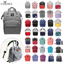 Lequeen Fashion Mummy Maternity Bag Multi-function Diaper Bag Backpack Nappy Baby Bag with Stroller Straps for Baby Care monochrome