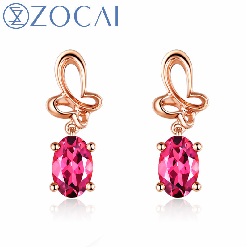ZOCAI Drop Earrings Natural Certificated 0.82 CT Rubellite 18K Rose Gold (Au750) Free Shipping By DHL Without Customs E00968