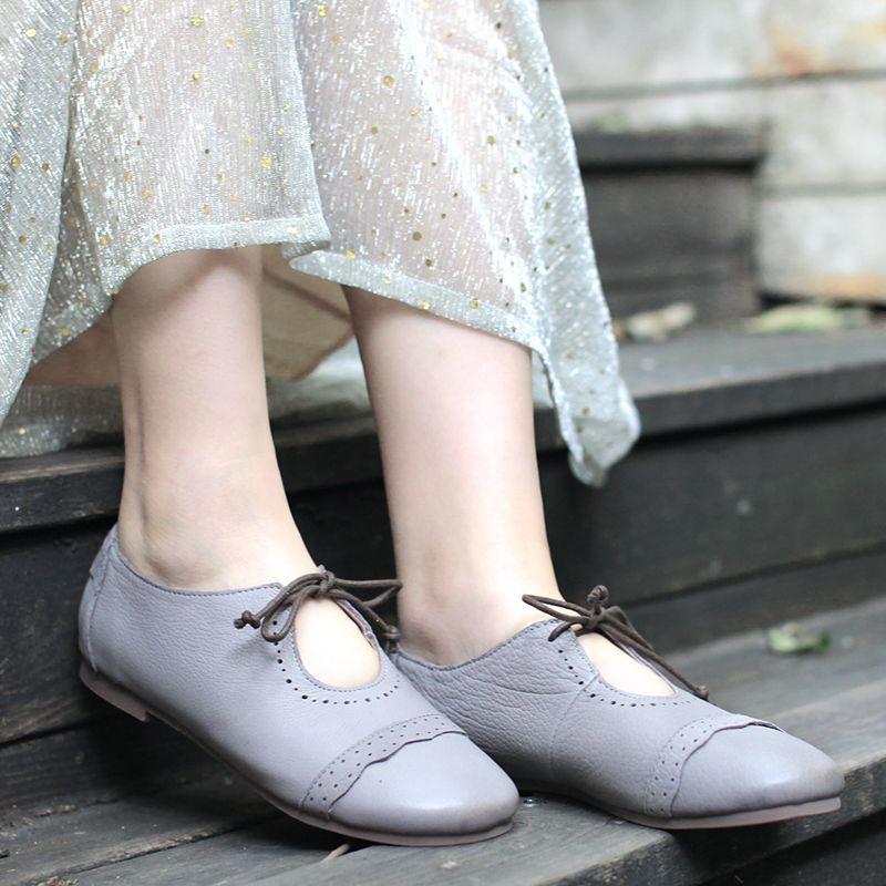 2018 ConfortablesPur À La Véritable Printemps De Détente Nouveau Careaymade Femmes DécontractéesTête Ronde Main Cuir Gray Chaussures En Blue 54AjL3Rq
