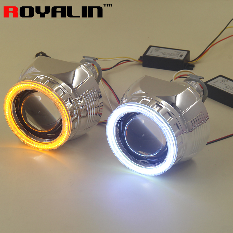 Car Styling 2.5'' RGB LED COB Angel Eyes Halo Rings HID Bi xenon Headlight Projector Lens For H4 H7 Auto Retrofit Turn Signal  car styling automobiles 3 0 metal bi xenon hid lens with led cob drl angel eyes for projector headlight h1 h4 h7