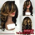 New style ombre peruca de cabelo sintético resistente ao calor onda do corpo do laço do cabelo perucas com Bangs Cosplay perucas para as mulheres negras
