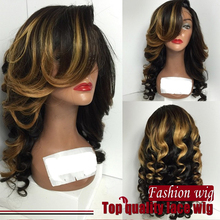 New style ombre wig Synthetic Hair Heat Resistant body wave hair Lace Wigs With Bangs Cosplay Wigs For black Women
