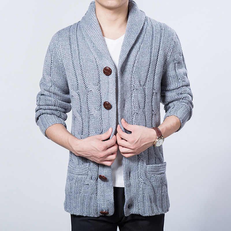 Wiivip Новый зимне-весенний свитер Для мужчин с уплотненной смешанной шерстью Длинные рукава прочные кардиганы Для мужчин s Верхняя одежда свитер вязанные YW021