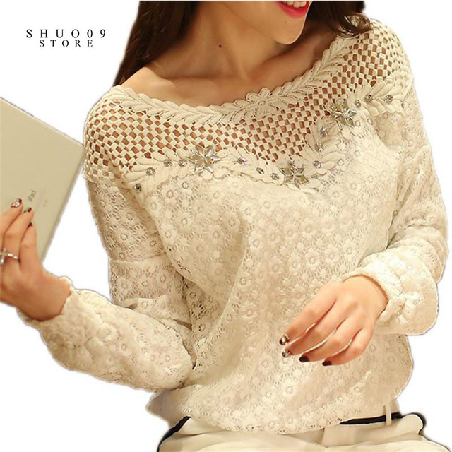 2018 Spring Autumn Women Fashion Lace Floral Patchwork Blouse Long Sleeve Shirts Hollow Out Casual Tops Plus Size XXL Pullovers 4