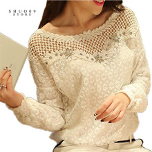 Spring Autumn Women Fashion Lace Floral Patchwork Blouse Long Sleeve Shirts Hollow Out Casual Tops Plus Size XXL Pullovers