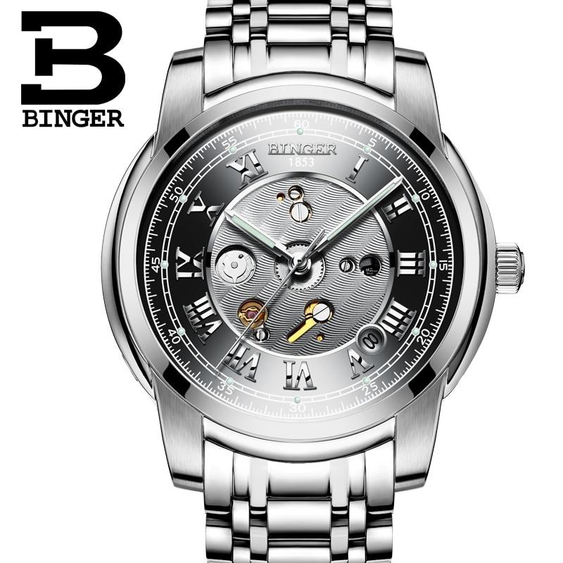 Switzerland Watches men luxury brand Wristwatches BINGER Mechanical Wristwatches waterproof full stainless steel watch B1159G binger 100