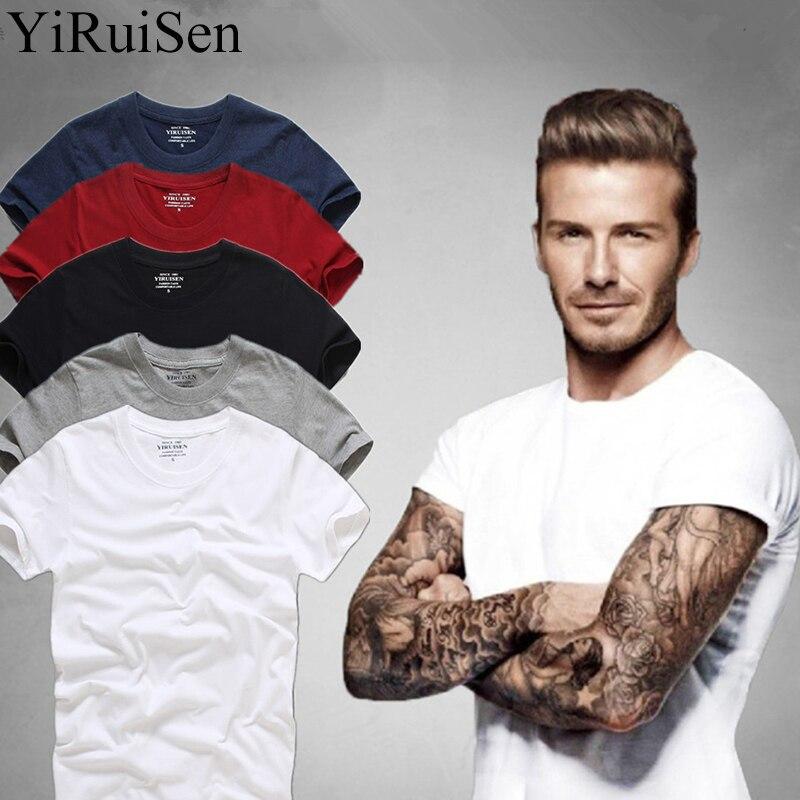 למעלה איכות Mens אופנה חולצות T 2018 שרוול קצר 100% קיץ חולצת טריקו כותנה חולצות מותג חולצות & Tees זכר מזדמן בגדים