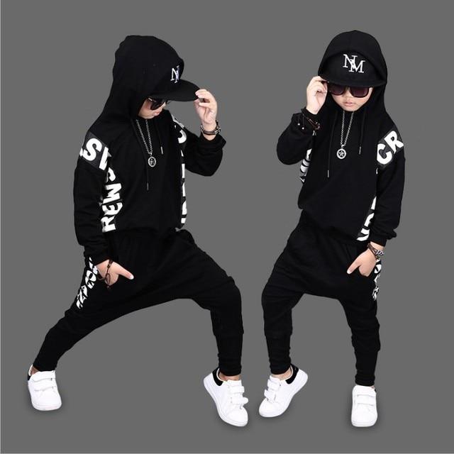 8093c96366d Hip-Hop 2018 Kids Spring Street Dance Clothing Set Children s Wear  Breakdancing Clothes Boys Tops + Haren Pants 2 Pcs Suit A318