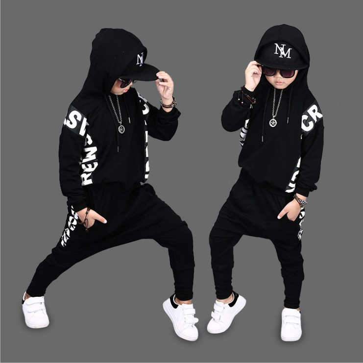 Hip Hop 2018 Kids Spring Street Dance Clothing Set Children's Wear Breakdancing Clothes Boys Tops + Haren Pants 2 Pcs Suit A318|Clothing Sets| - AliExpress