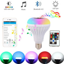 цена на E27 Bluetooth Speaker Smart led light bulb 12W Music Playing Dimmable Wireless Lamp Colorful RGB With 24 Keys Remote Control