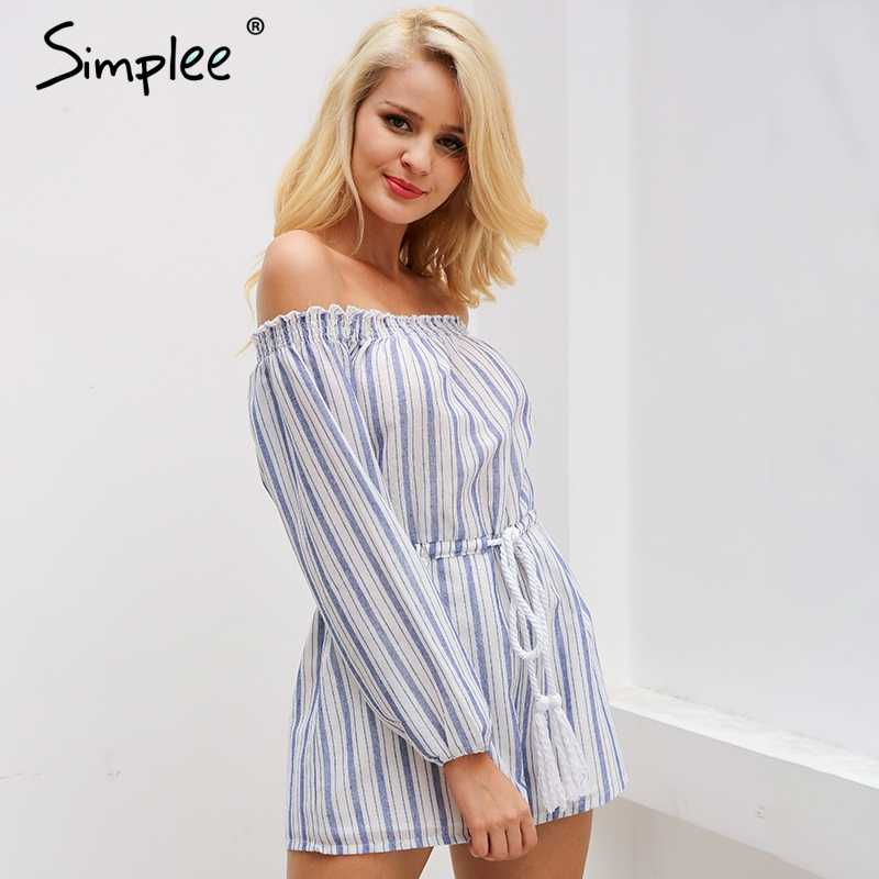 Simplee Sexy off shoulder blue striped women jumpsuit romper Summer style beach short playsuit Casual macacao lining overalls
