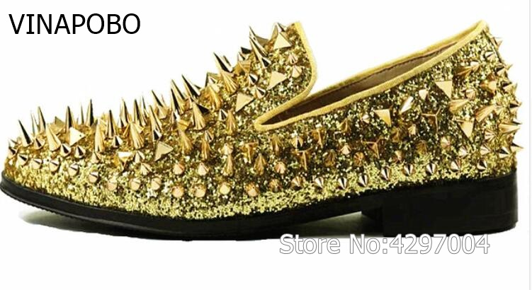 New factory customized vinapobo men luxury shinny glitter gold and silver spikes shoes slip on loafers