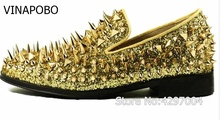New factory customized vinapobo men luxury shinny glitter gold and silver spikes shoes slip on loafers rivets men casual shoes цена в Москве и Питере