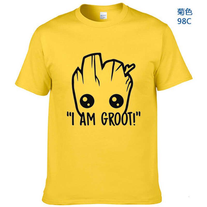 % 100% Pamuk t shirt erkek Star Wars Anime bebek pop groot Yaz komik Ben GROOT T Shirt Erkek Serin tees Tops Homme Gömlek EUR