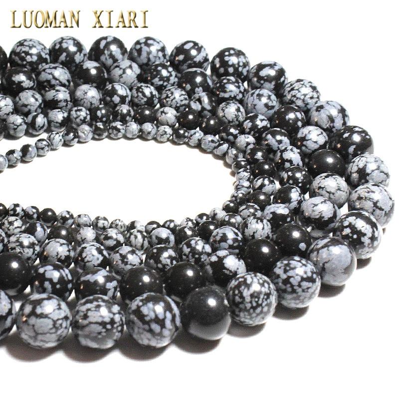 """دستبندهای AAA + دانه های سنگی طبیعی ، برف های بتونی برف برای ساخت جواهرات ، دستبند گردنبند Diy 4/6/8/10 / 12mm رشته 15.5 """""""