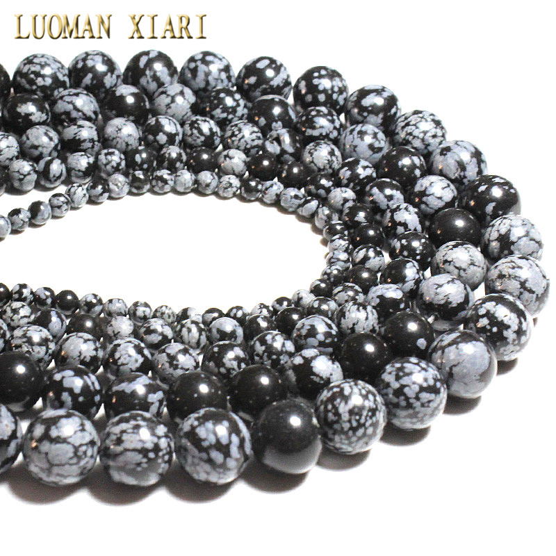 "AAA + Perle di pietra naturale Jaspers fiocchi di neve Branelli allentati per creazione di gioielli Braccialetto collana fai da te 4/6/8/10 / 12mm Strand 15.5 """