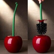 Creative Lovely Cherry Shape Lavatory Brush Toilet & Holder Set (Red)