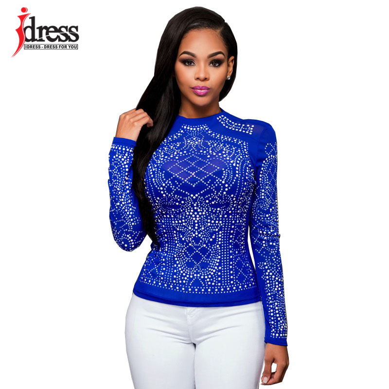Hambelela Red  Blue  Black Women Long Sleeve Sequin Bodycon Tops ... 4a4e4c8d6102