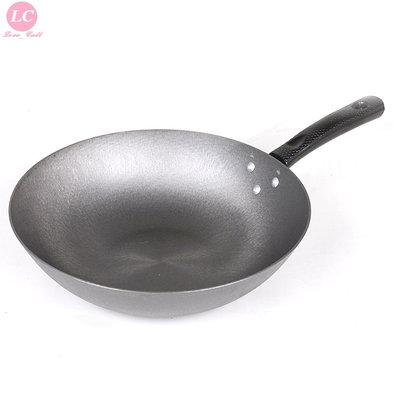 Refined Cast Iron Wok Furnace Matching iron Pan Thickened Flat Bottom No coated Health 32cm Cooking