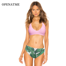 OPENATME Sexy Pink Bikini Set Women Floral Print Swimwear Push Up Swimsuit Brazilian Biquini  Bikinis Pad Bathing Suit Beachwear pink random floral print lace up design spaghetti bikini set