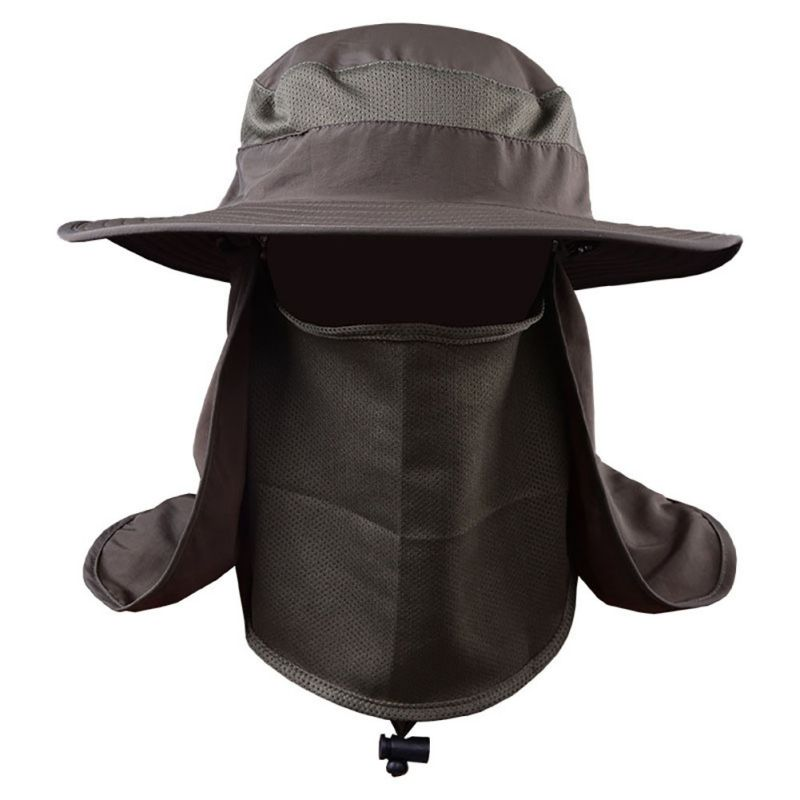 Summer Women Men Outdoor Sport Fishing Hiking Hat UV Protection Face Neck Flap Sun Caps Solid Color Sun-proof Hats outdoor fishing mountaineering sun proof wide brim hat for men camouflage green