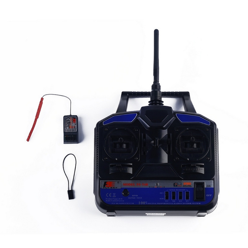 Wireless 2.4 GHz 4CH FlySky FS-T4B Remote Controller Radio Transmitter + Receiver For RC Helicopter Glider Airplane Drone Parts flysky 2 4g 6ch channel fs t6 transmitter receiver radio system remote controller mode1 2 lcd w rx rc helicopter multirotor