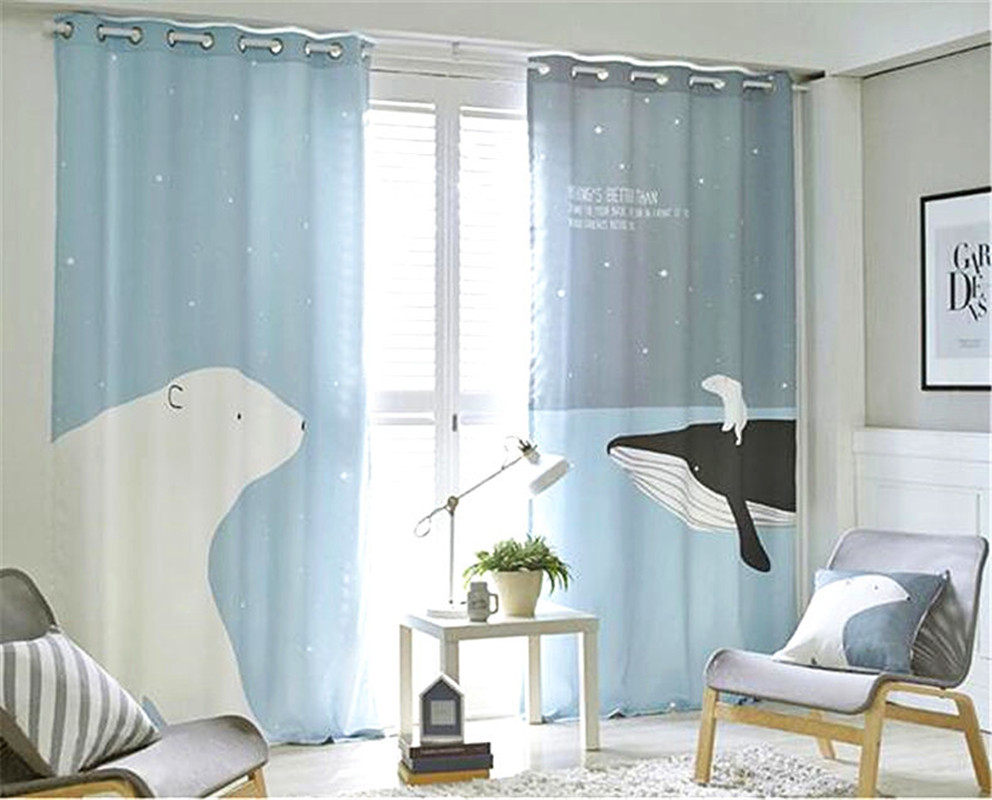 Window Curtain Living Room 3D Photo Print Curtains Sheer Child Tulle Bedroom Kids Cortina