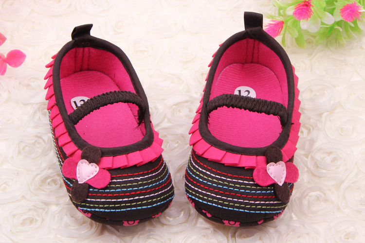 Fashion Newborn Baby Girl Cute Flower Ruffled Crib Shoes Soft Anti Slip Princess Shoes