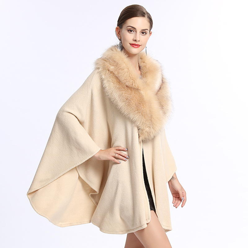 SWONCO Winter Cape On Shoulder With Faux Fur Collar Women Capes Coat White Winter Poncho Capa Con Capucha Black Long Cape Women