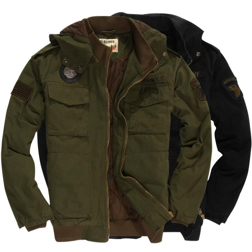 US ARMY 101 Airborne Civil Officer Men's Flight Jacket Green / Black Hooded Warm Cotton Winter Military Jacket US Size
