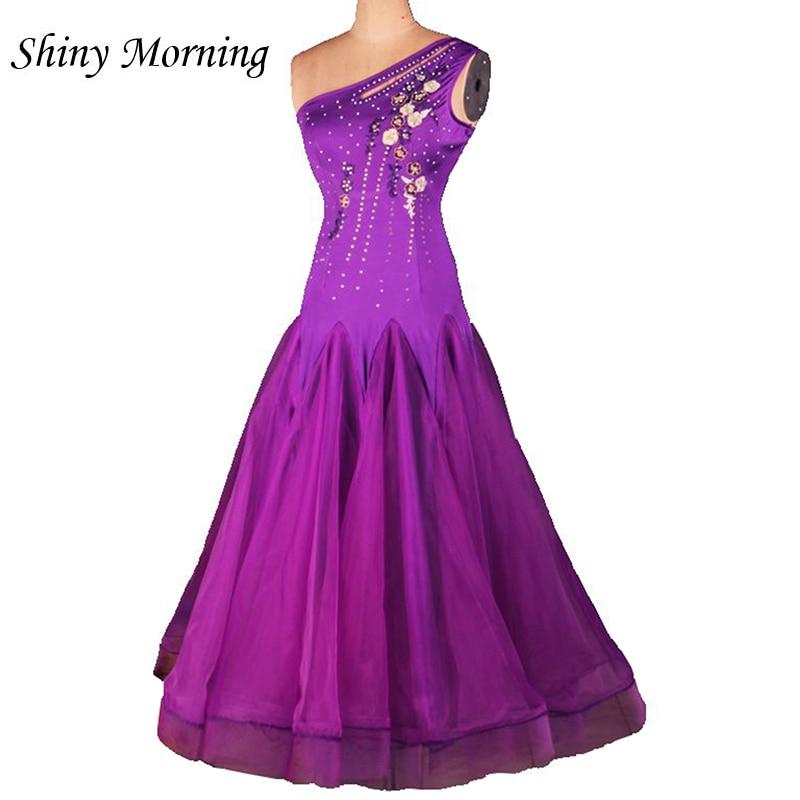 customize custom purple adult Viennese Ballroom Fox trot Quick step tango Waltz diamond competition Dance Dress no sleeve