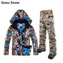 Gsou Snow brand ski jacket men snowboard pants set skiing jackets winter ski suit for men chaqueta esqui hombre warm skiwear
